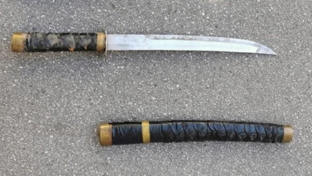 Mit diesem beinahe altertümlichen Schwert wollte der Österreicher der Polizei wohl Angst einjagen. (Bild: LPD Wien)