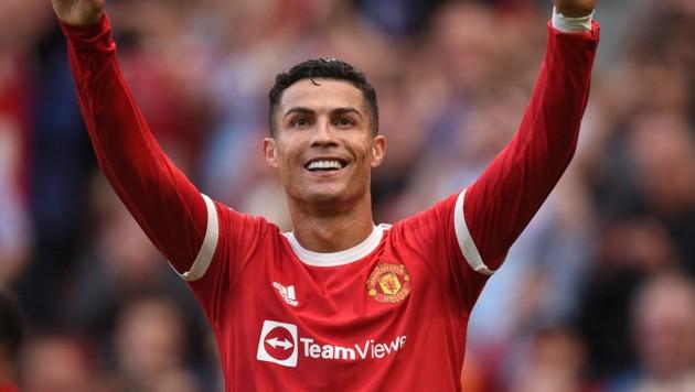 """Cristiano Ronaldo ist schon nach seinem ersten Spiel für die """"Red Devils"""" der König von Manchester. (Bild: APA/AFP/Oli SCARFF)"""