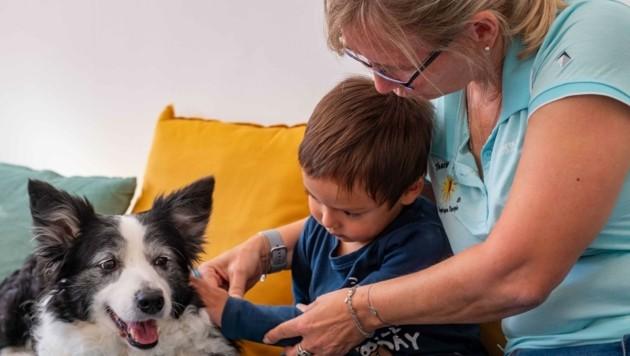 """Mit der geduldigen """"Nadua"""" und Hundeprofi Maria Meisel (Therapiehund & Co) durften 4- bis 10-jährige Kinder am Linzer Hauptplatz erste wertvolle Erfahrungen mit Vierbeinern sammeln. (Bild: Einöder Horst)"""