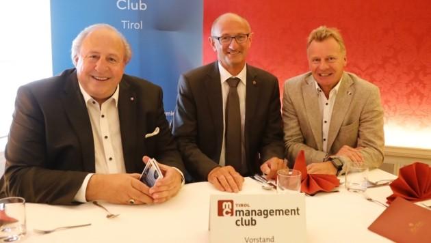 MC Tirol-Vorsitzender Helmut Lutz, Wirtschafts-LR Anton Mattle und MC-Tirol-Stv. und GF Erwin Walch (v.li.) (Bild: Birbaumer Christof)