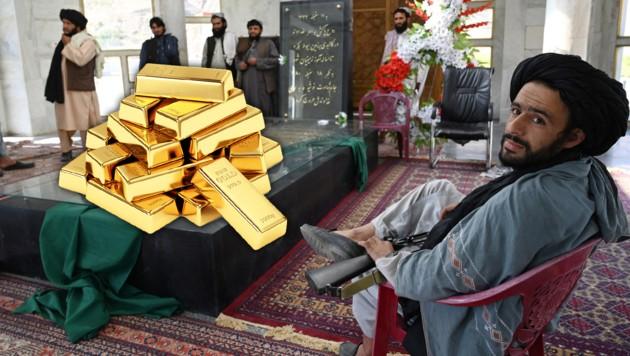 Die Taliban haben sich laut eigenen Angaben einen wahren Goldschatz in Millionenhöhe unter den Nagel gerissen. (Bild: Fotomontage, stock.adobe.com, APA/AFP, Krone KREATIV)