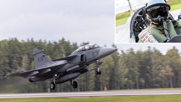 """Die """"Krone"""" unterwegs mit der schwedischen Luftwaffe (Bild: Saab / Per Kustvik, Krone KREATIV)"""