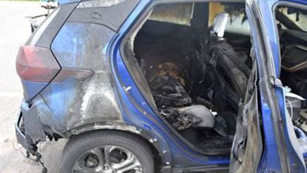 Die Überreste eines abgebrannten Chevrolet Bolt (Bild: APA/AFP/VERMONT STATE POLICE)