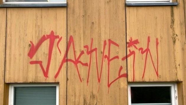 Graffitis wie dieses haben die Polizei auf den Plan gerufen. (Bild: LPD Vorarlberg)