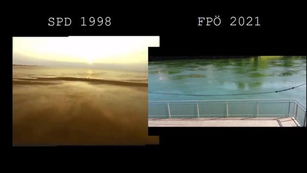 Dort die Nordsee, da die Traun: Die FPÖ Wels hat sich einiges vom SPD-Video abgeschaut. (Bild: Screenshot/Twitter)