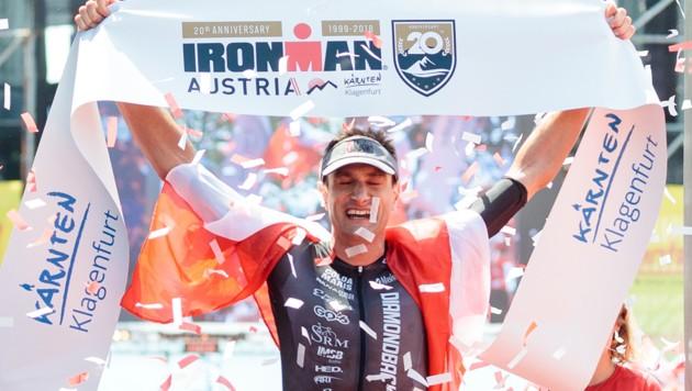 Michael Weiss bei seinem Sieg beim Ironman in Klagenfurt 2018 (Bild: APA/EXPA/JOHANN GRODER)