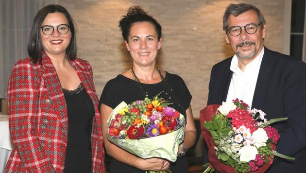 LH-Stv.in und Bezirksparteivorsitzende Astrid Eisenkopf, SPÖ-Stadtparteivorsitzende und Spitzenkandidatin Charlotte Toth-Kanyak sowie Vizebürgermeister Otto Kropf (v. li. n. re.). (Bild: SPÖ Burgenland)