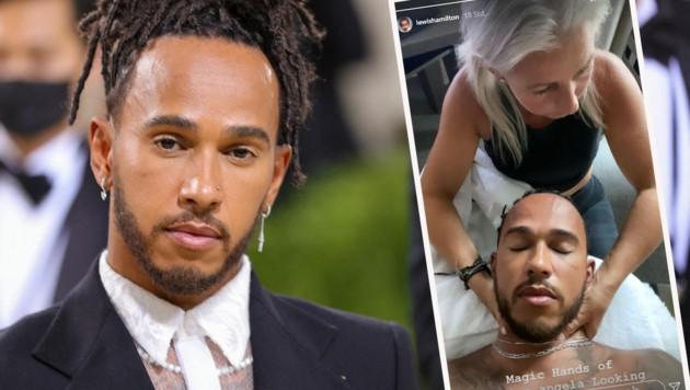 Lewis Hamilton links bei der Met-Gala am Dienstag, rechts bei der Massage von Physiotherapeutin Angela Cullen (Bild: APA/Getty Images via AFP/GETTY IMAGES/Theo Wargo, Insta-Story Lewis Hamilton)