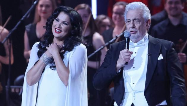 Anna Netrebko stand an ihrem 50. Geburtstag mit Placido Domingo im Kreml auf der Bühne. Glückwünsche gab es auch von Wladimir Putin. (Bild: Vladimir Gerdo / Tass / picturedesk.com)