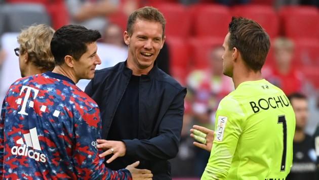Robert Lewandowski, Trainer Julian Nagelsmann und Bochums Torhüter Manuel Riemann (Bild: APA/dpa/Sven Hoppe)