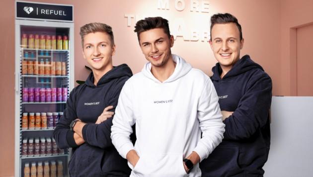 Die Brüder Lukas und David Kurzmann sowie Thomas Mark (von links) zielen auf 100 Mio. $ Umsatz ab. (Bild: Women's Best, Krone KREATIV)