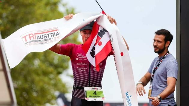 Der Wolfurter Langstrecken-Triathlet Max Hammerle erreichte nach 8:13:39 Stunden das Ziel des Ironman Austria in Klagenfurt und holte sich damit den Vizestaatsmeistertitel. (Bild: GEPA pictures)