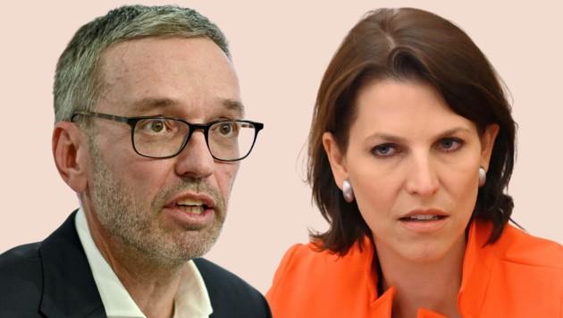 Europaministerin Karoline Edtstadler übt heftige Kritik an der Corona-Politik von FPÖ-Chef Herbert Kickl. (Bild: APA/HERBERT NEUBAUER/HELMUT FOHRINGER, Krone KREATIV)