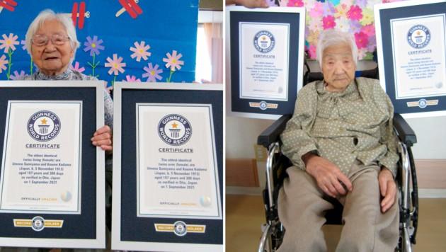 Umeno Sumiyama (links) und Koume Kodama (rechts) leben laut dem Guinness-Buch der Rekorde in getrennten Altersheimen. (Bild: Guinness World Records via AP)