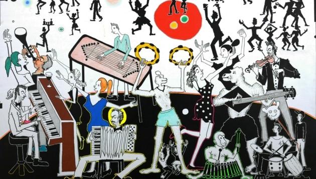 Eine Stickerei auf Baumwolle ohne Titel von Jakup Ferri aus dem Jahr 2020. (Bild: Daniel Jarosch)