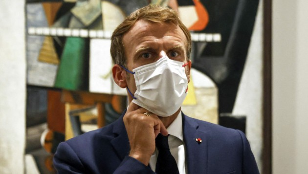 Frankreichs Präsident Macron war an Corona erkrankt und wurde im Mai geimpft. (Bild: AFP)