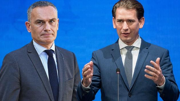 EVP-Vizepräsident Arnaud Danjean (li:) kritisiert Kanzler Sebastian Kurz scharf (Bild: AFP, Krone KREATIV)