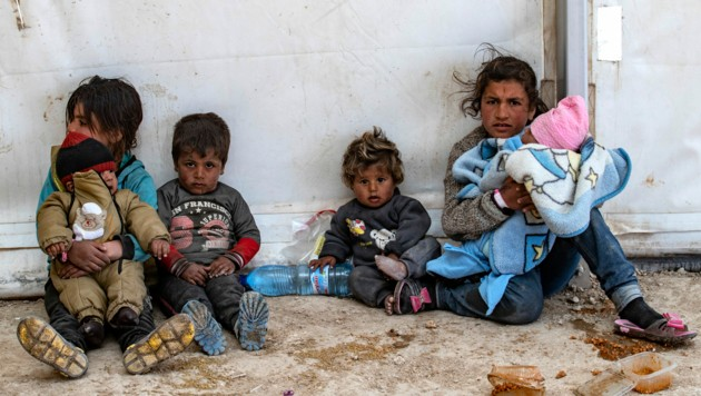 Kinder im Flüchtlingslager Al-Hol (Bild: AFP)