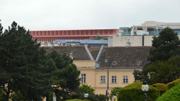 Klotzig: So würde das neue KaDeWe nach der Fertigstellung im Stadtbild hervorstechen. (Bild: Krone Kreativ)