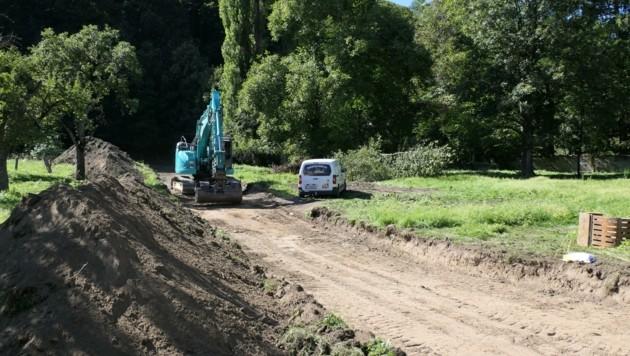 Der erste Bagger steht bereits auf der bekannten Grünfläche und bereitet die Zufahrt zum Schlossmoarhof vor (Bild: Martin Oberbichler)