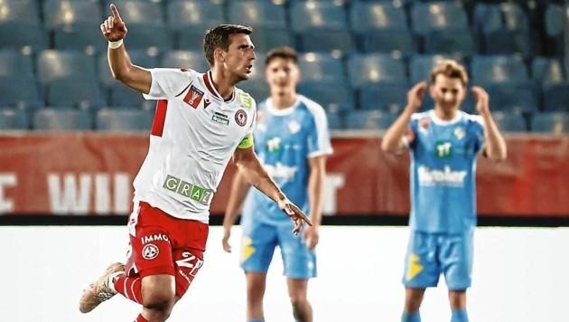 GAK-Kapitän Marco Perchtold traf im Cup gegen Tirol zum zwischenzeitlichen 2:2. (Bild: ERWIN SCHERIAU / APA / picturedesk.com)