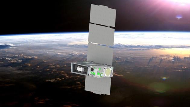 Künstlerische Illustration: Der Schuhschachtel-große Mini-Satellit CUTE im Weltall (Bild: © LASP/UCB)