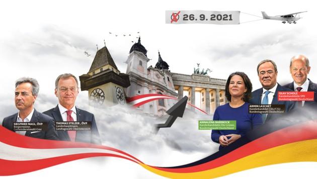 (Bild: Krone KREATIV | Fotos: Christian Jauschowetz, Wenzel Markus,Viennareport, EPA, Markus Wenzel, stock.adobe.com)