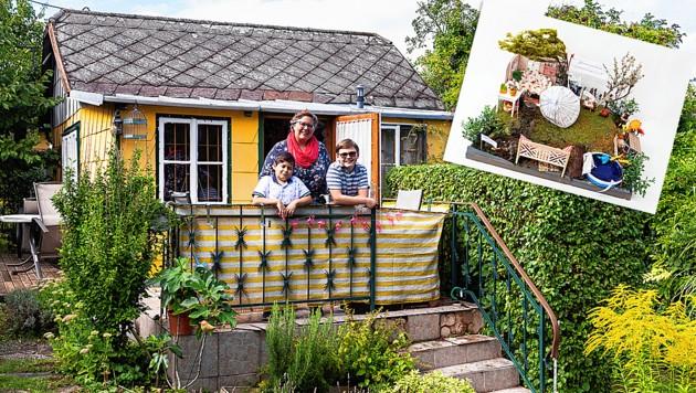 Colette Liedl aus dem KGV Schafberg-Siedlung bastelte ein Kunstwerk aus Wohnzimmer, Lounge-Ecke usw. Sie freut sich über 2000 Euro. (Bild: Stefan Zamisch, Krone KREATIV)