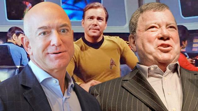 Jeff Bezos (links) will mit dem 90-jährigen Captain-Kirk-Schauspieler William Shatner ins Weltall fliegen. (Bild: Paramount, APA/dpa/Frank Rumpenhorst, APA/Getty Images via AFP/GETTY IMAGES/Michael M. Santiago Krone KREATIV)