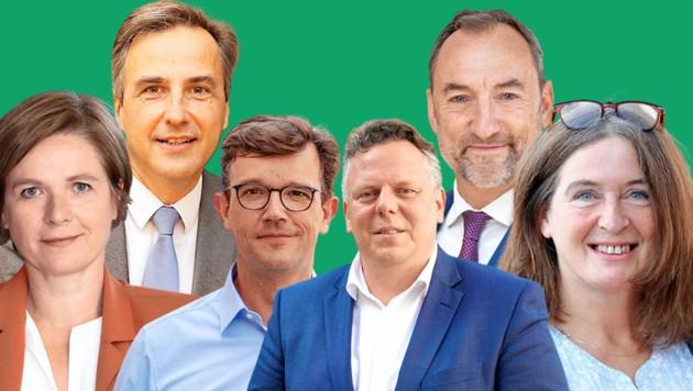 Die Grazer Spitzenkandidaten: Judith Schwentner (Grüne), Siegfried Nagl (ÖVP), Philipp Pointner (Neos), Michael Ehmann (SpÖ), Mario Eustacchio (FPÖ) und Elke Kahr (KPÖ) (Bild: Christian Jauschowetz, SPÖ Graz, Stadt Graz/Fischer, Neos/Josef Diepold,Krone KREATIV)