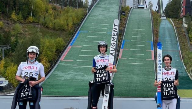 Der Dornbirner Skispringer Andre Fussenegger (M.) schlug beim FIS-Cup in Lahti doppelt zu, gewann beide Bewerbe (Bild: Skijumping vorarlberg/Instagram)
