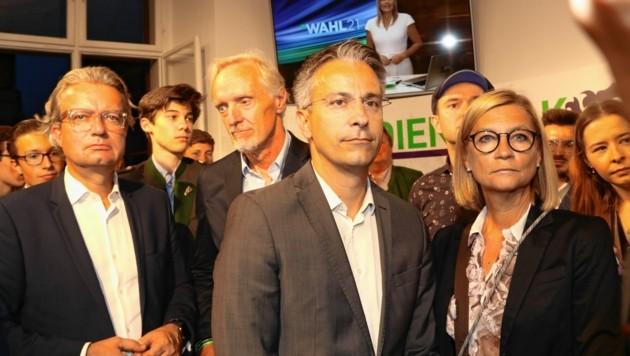 Kurt Hohensinner (Mitte) mit Christopher Drexler, Günter Riegler und Daniela Gmeinbauer (Bild: Christian Jauschowetz)