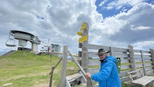 Der Kräuterpädagoge Hubert Stauber hat einen Almblumenweg angelegt. Auf Infotafeln können die Wanderer viel Interessantes über die Pflanzen erfahren. (Bild: Hronek Eveline)