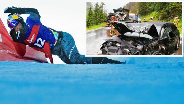 Totalschaden nach dem tödlichen Unfall im Juni - vier Monate davor wurde Benjamin Karl (li.) in Rogla Snowboard-Weltmeister. (Bild: EXPA/Sportida/Grega Valancic)
