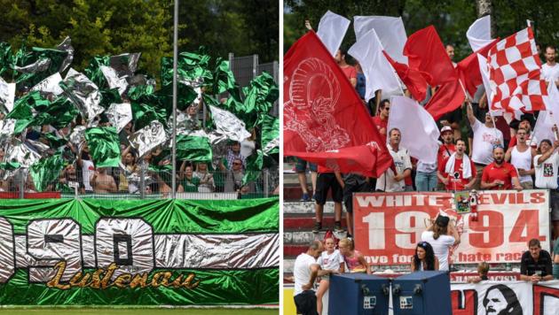 Über 4000 Fans aus Dornbirn (r.) und Lustenau werden am Freitag erwartet. (Bild: Gepa / Oliver Lerch)