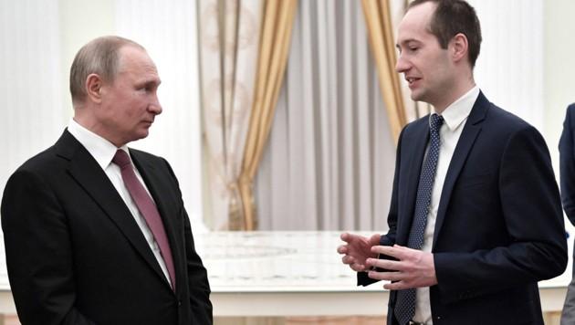 Ilja Sachkow (re.) bei einem Treffen mit Wladimir Putin im Jahr 2019 (Bild: APA/AFP/SPUTNIK/Alexey NIKOLSKY)