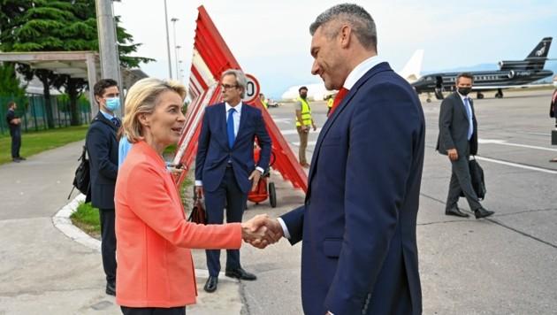 Treffen mit EU-Kommissionschefin Ursula von der Leyen in Montenegro (Bild: BMI/Makowecz)