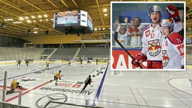 """In der neuen """"Intercable Arena"""" wollen die Eisbullen (li. Loney/ fehlt, Järvinen) wieder jubeln. (Bild: Montage Andreas Tröster/Arena Bruneck)"""