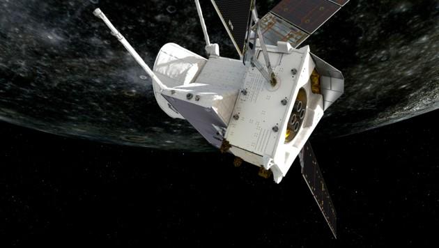 """Die Doppelsonde """"BepiColombo"""" meisterte ihren ersten Vorbeiflug am Planeten Merkur (Bild: ESA/ATG medialab)"""