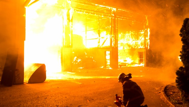 Die Lagerhalle des Schweine-Mastbetriebs brannte lichterloh. (Bild: Mathis Fotografie)