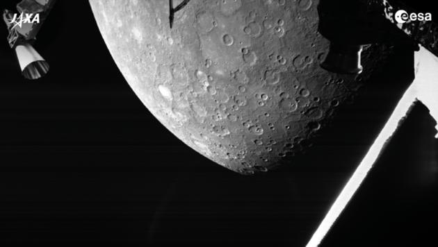 """Die Raumsonde """"BepiColombo"""" funkte am Wochenende ihre ersten Merkur-Bilder zur Erde. (Bild: ESA/BepiColombo/MTM (CC BY-SA 3.0 IGO))"""