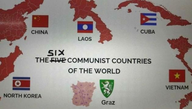Im Internet kursieren Parodien auf den Erfolg der Kommunisten in Graz. (Bild: Twitter)