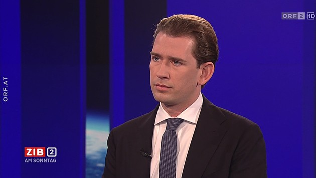 "Bundeskanzler Sebastian Kurz (ÖVP) in der ""ZiB 2"" am Sonntagabend (Bild: ORF)"