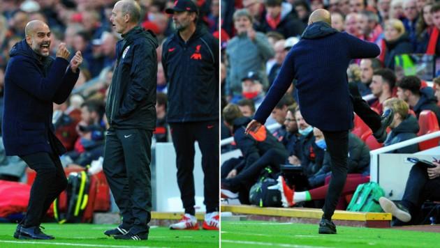 ManCity-Coach Pep Guardiola zeigte sich im Spitzenspiel bei Liverpool höchst emotional. (Bild: AP)