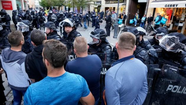 Die Demonstration in Slowenien fand parallel zum Beginn des EU-Westbalkan-Gipfels statt. (Bild: AP)