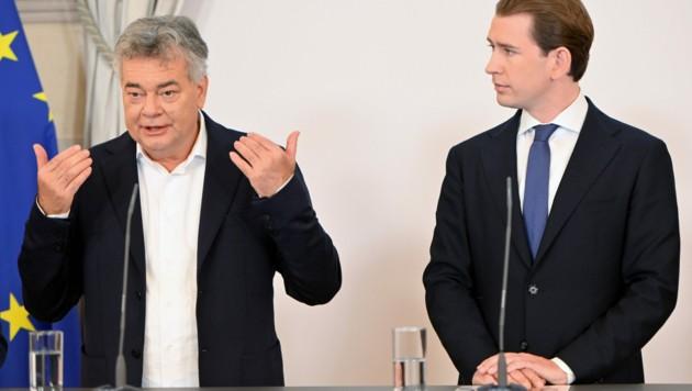 Vizekanzler Werner Kogler (Grüne) und Bundeskanzler Sebastian Kurz (ÖVP) (Bild: APA/HERBERT NEUBAUER)