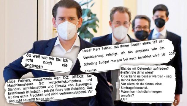 Zu den Beschuldigten zählen - neben ihm selbst - die engsten Vertrauten von Bundeskanzler Sebastian Kurz. (Bild: APA/ROLAND SCHLAGER; zVg, Krone KREATIV)