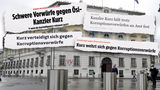 Die deutschen Medien berichteten ausführlich über die Korruptionsermittlungen gegen die türkise ÖVP. (Bild: Bild, SZ, FAZ, Spiegel, Krone KREATIV)