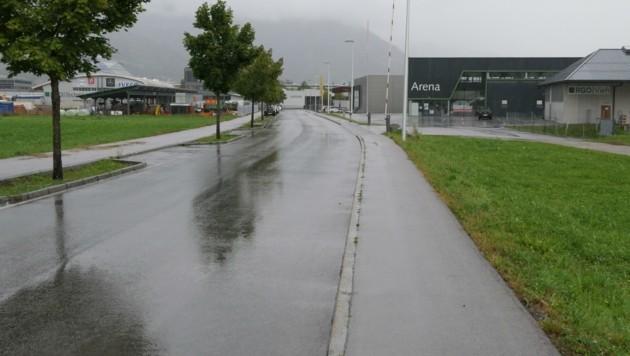 Dieser Straßen-Abschnitt, in der auch die RGO-Arena steht, trägt den Namen des VP-Politikers Franz Kranebitter tragen. (Bild: Martin Oberbichler)