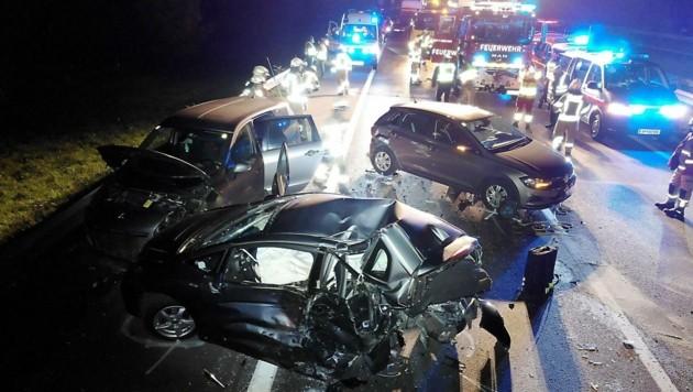 Die Unfallstelle auf der Rheintal-Autobahn (A14) (Bild: Maurice Shourot)